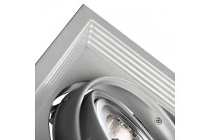 Светильник встраиваемый downlight ARTO 2L-SR, прямоугольный серебряный тройной