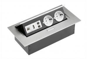 Настольный удлинитель без кабеля 2 гнезда, USB, RJ45, Ethernet, прямоугольный, алюминий