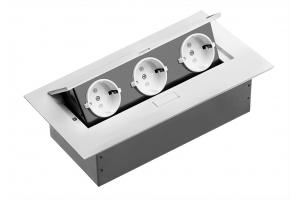 Настольный удлинитель без кабеля 3 гнезда, прямоугольный, белый