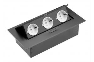 Настольный удлинитель без кабеля 3 гнезда, прямоугольный, черный
