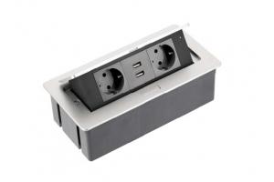 Настольный удлинитель SOFT 2 гнезда, 2 USB, с кабелем, прямоугольный, алюминий