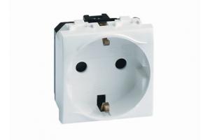 Электрическая розетка, с заземлением, со шторками, белая, 2мод