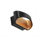 Светильник настенный светодиодный HUGO 3000K BL/GL, черный с золотом внутри