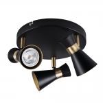 Светильник настенно-потолочный MILENO EL-3O B-AG, черный/золотой