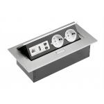 Настольный удлинитель без кабеля 2 гнезда, USB, RJ45, интернет-вход, прямоугольный, алюминий