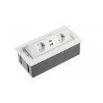 Настольный удлинитель SOFT 2 гнезда, 2 USB, с кабелем, прямоугольный, белый