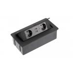 Настольный удлинитель SOFT 2 гнезда, 2 USB, с кабелем, прямоугольный, черный